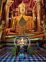 Ancient Buddha Statue at Wat Phanan Choeng, Ayutthaya, Thailand