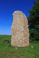 Rune stone at Kallby Hallar, Sweden.