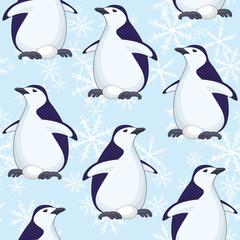 Seamless pattern, penguins and snowflakes