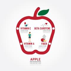 Infographic apple health concept template design . concept .