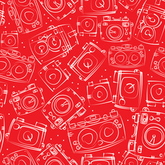 white photo cameras seamless pattern