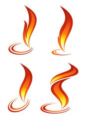 Collection of red fire icons