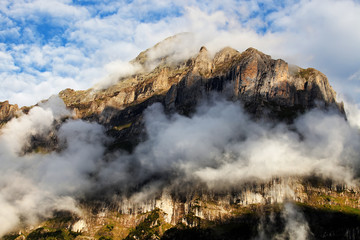 Wetterhorn Peak (3692m) over Grindelwald village, Switzerland