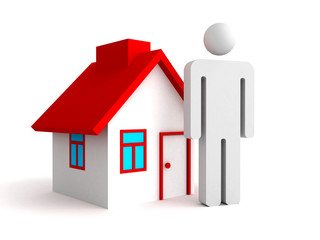3d house with person man icon. real estate concept
