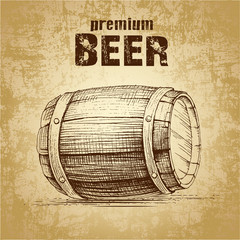 beer keg  for label, package.vintage barrel