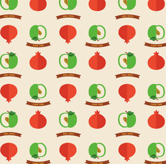 Seamless pattern with apples and pomegranates.  Greeting card