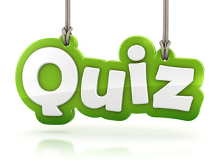 Quiz green word text on white background