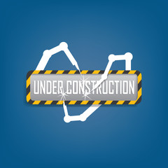 Modern under construction sign with futuristic robots