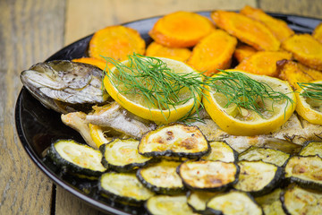 Grilled trout with vegetables