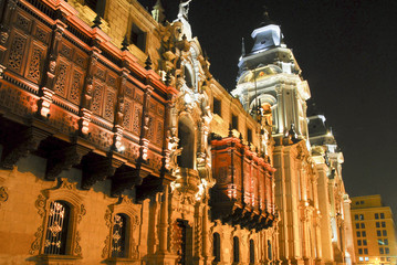 Lima Cathedral at night