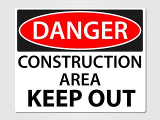 Danger construction sign