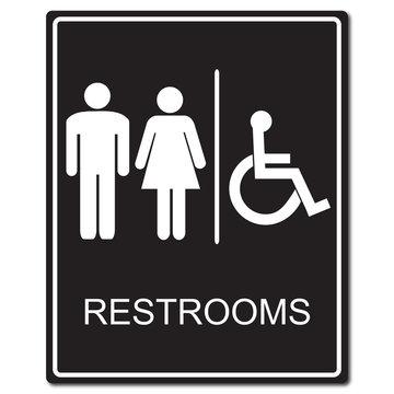 Restrooms sign vector illustration