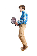teenager with a megaphone