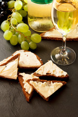 toast with cheese and wine