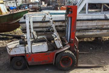 Broken forklift truck