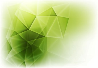 Abstract green glowing tech triangles background
