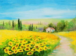Foto op Canvas Meloen oil painting landscape - field of sunflowers