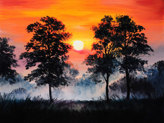 oil painting landscape - sunset in the forest, fog