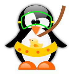 Pinguino con maschera e salvagente