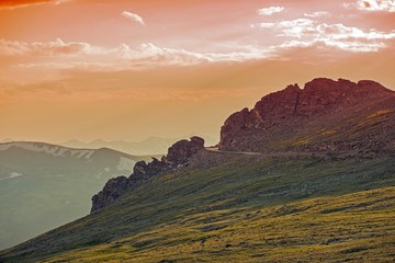 Wall Mural - Alpine Road at Sunset