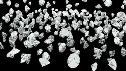 Diamond fall on the black