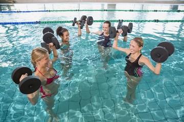Smiling fitness class doing aqua aerobics