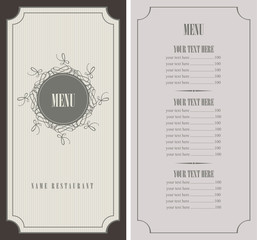 menu for the restaurant in retro style