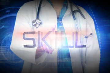 Doctor presenting the word skill