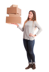 Happy girl holding a cardboard boxes