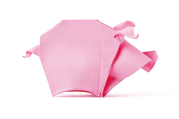 Origami pink pig