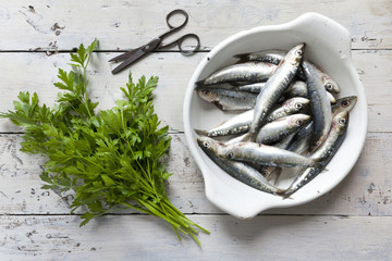 sardines on enamelled tray with parsley on rustic background