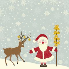 Greeting card with Santa Claus and deer