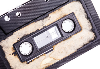 close up of a vintage audio tape