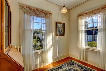 Bright room corner with windows
