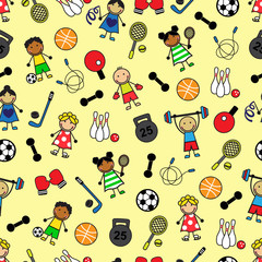 Cartoon seamless pattern with sport equipment and Children