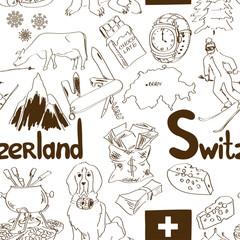 Sketch Switzerland seamless pattern
