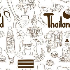 Sketch Thailand seamless pattern