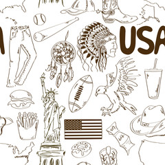 Sketch USA seamless pattern