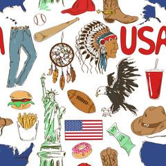 Sketch USA seamless pattern