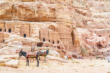 The caves of tomb in the Edomite city of Petra, Jordan