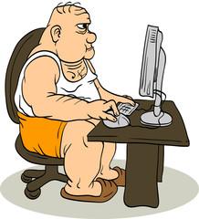 Fat Man At The Computer