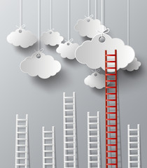 Stairs on a cloud concept vector.