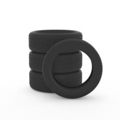 積み重なっているタイヤの3Dイラスト