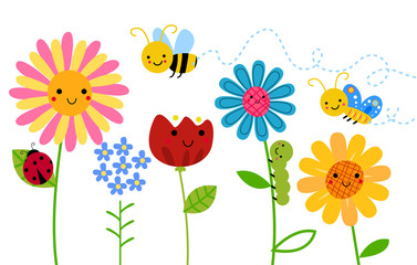 Flowers and insect