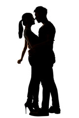 Silhouette of Asian couple hug
