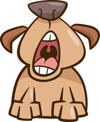 dog yawn cartoon illustration