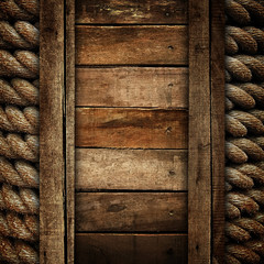 old wood background with rope
