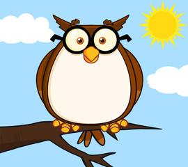 Wise Owl On Tree Cartoon Character
