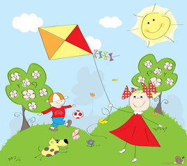 kids,outdoor playing in spring - vectors