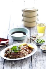 slices of roast pork trotters,Thai food.